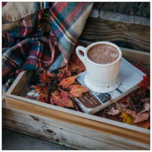 Wooden box with fall leaves with a book and mug of chocolate on top and a plaid blanket - image by alisa anton unsplash.com