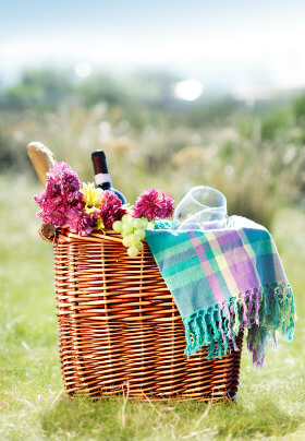 Wicker basket sitting in a grassy field, filled with pastel plaid blanket, grapes, bread, flowers, and wine bottle